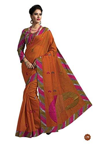 Jaanvi-Fashion-Designer-Orange-Embroidered-Cotton-Saree