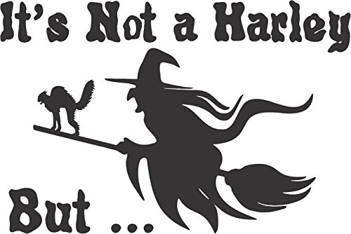 Barking Sand Designs Not Harley Witch Halloween cat Broom - Die Cut Vinyl Window Decal/Sticker for Car/Truck