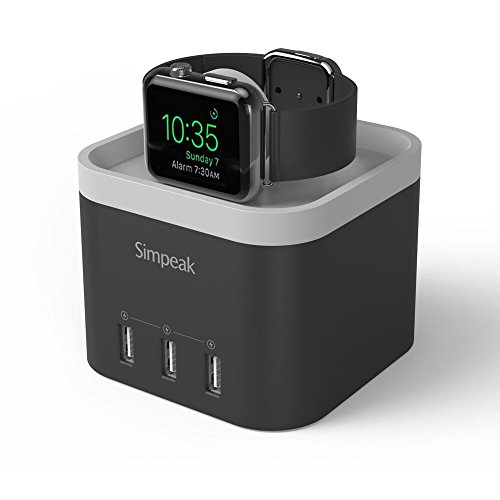 Simpeak 4 Port USB Charger Station for Apple Watch[Nightstand Mode], with Phone Holder Charger Stand for iPhone 5/6/7 and other Smartphone,iPad - Black