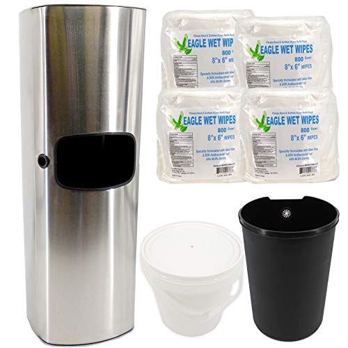 TEXAS RAGTIME Eagle Wipes New Sanitizing Wipes Dispenser and Trash Can Set for Gyms, Offices, Hospitals, Schools, Restrooms Bundle Eagle Wet Wipes Antibacterial Gym Wipes 4 Rolls 3200 Sheets 800/roll by TEXAS RAGTIME (Image #1)