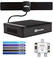 SiliconDust HDHomeRun Extend HDTC-2US-M Dual Tuner with H.264 Transcoder Bundled with Mohu 25 Mile Indoor HDTV Antenna, Blucoil 2-Way TV Coaxial Cable Splitter and 5-Pack of Reusable Cable Ties