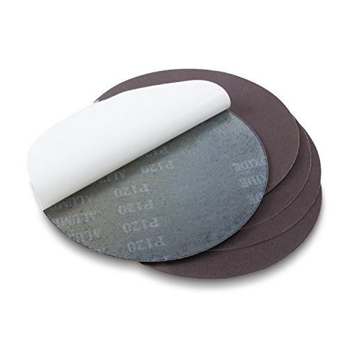 Red Label Abrasives 8 Inch 100 Grit Adhesive Back Aluminum Oxide Metal Sanding Discs, 5 Pack