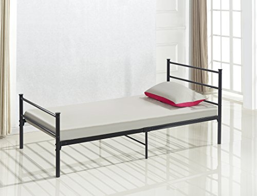 Metal Platform Bed Frame Black Twin Size, Headboards and Footboard with 6 Legs and Full Slats - Need Mattress only, No Box Spring