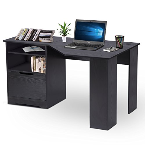DEVAISE Wood L-shaped Corner Computer Desk for Home Office / Black by DEVAISE