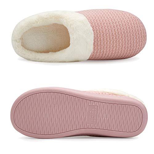 Memory Cotton Pink Women's Slip ANLUKE House Slippers Indoor Slipper Knitted Soft Foam on gqUxa