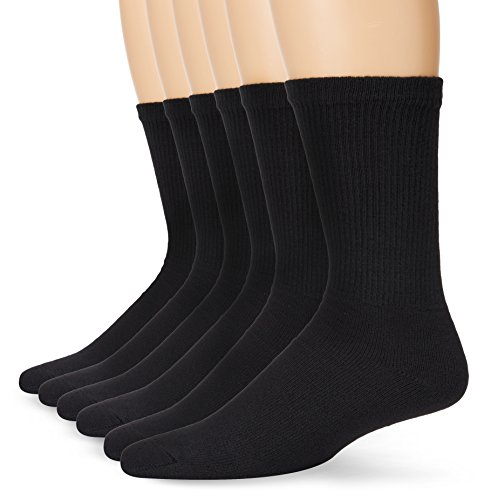 Fruit of the Loom Men's 6 Pack Heavy Duty Cushioned Crew Socks, Black, Medium (M1990-B62-R-C)