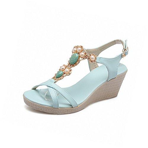 AllhqFashion Womens Soft Material Open Toe Kitten-Heels Buckle Solid Sandals Blue yB0sajftu