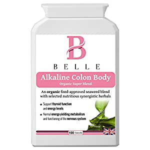 Belle® Alkaline Colon Body suplemento - Orgánico Super Blend - alkalising, limpieza, desintoxicación y fórmula de alimentación diaria - Con algas, alcachofa, chlorella, hojas de té verde, espirulina, ruibarbo y cayena - Adecuado para vegetarianos, vegetarianos y Kosher Aprobado - 100 cápsulas