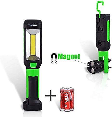 Luz de trabajo LED COB port/átil Luz impermeable Negro 3W 300 l/úmenes de luz con base magn/ética y gancho para colgar bater/ías no incluidas