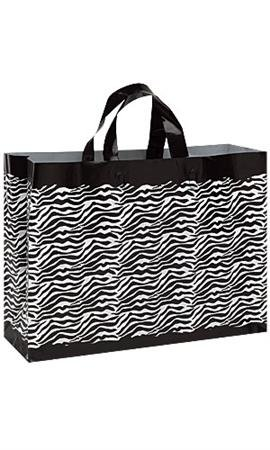100 Large Frosted Plastic Zebra Print Shopper Merchandise Retail Gift Wrap Wrapping Bags 16