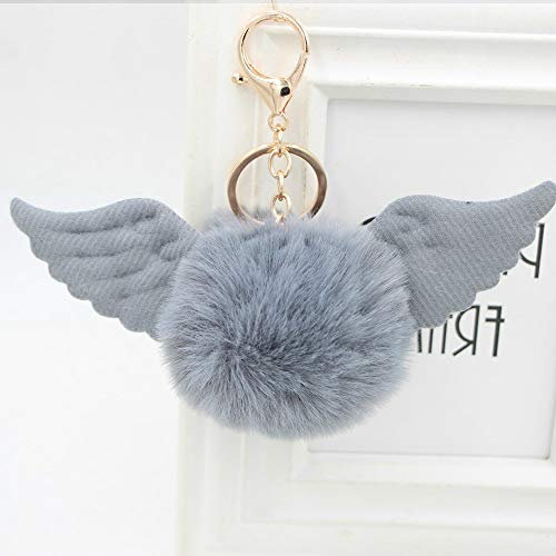 Cute Plush Ball Keychain Angel Wings Plush Pendant Bag Car Ornament Keyring-Gray