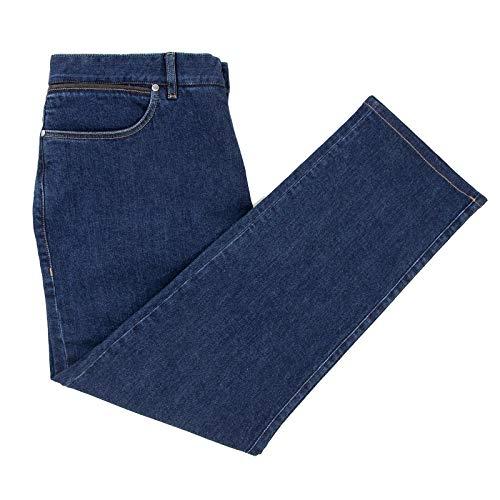 Ermenegildo Zegna Luxury Denim Blue Leather Trim 5-Pocket Straight Jeans 38W/54EU