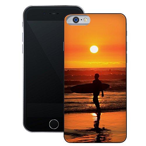 Surfer Sonnenuntergang | Handgefertigt | iPhone 6 6s (4,7') | Schwarze Hülle