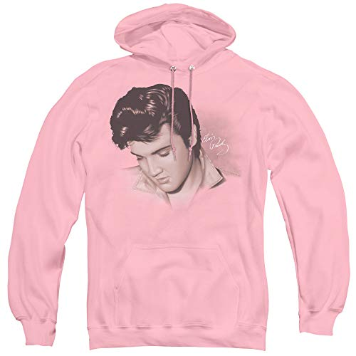 Elvis Presley Looking Down Unisex Adult Pull-Over Hoodie for Men and Women, Large Pink