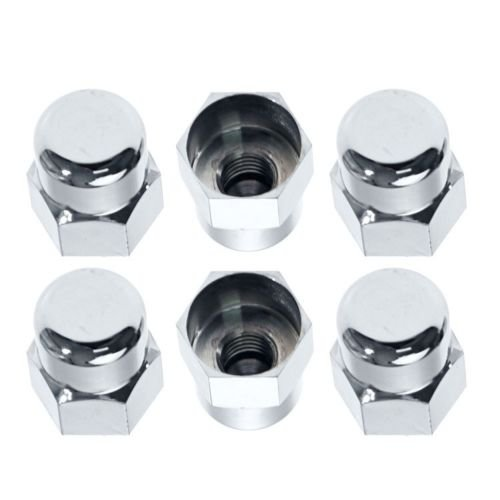 1982-1993 Mustang Chrome Plated Strut Stud Nut Caps Covers - Set of 6 Chrome Strut Tower Cover