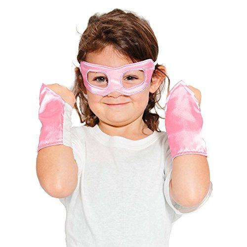 Pink Superhero Eye Mask and Powerbands - Kids -