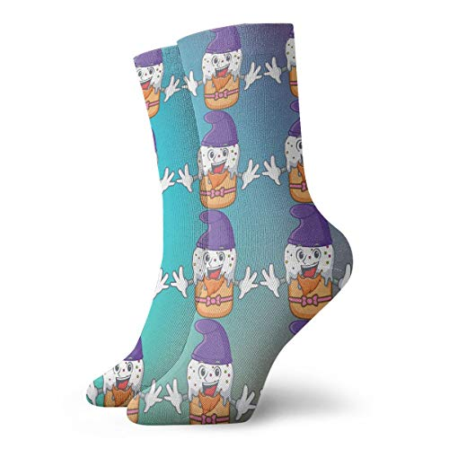 SARA NELL Novelty Funny Crazy Crew Sock Cool Teeth Emoji Purple Hat 3D Printed Winter Sport Athletic Socks 30cm Long Personalized Gift Socks