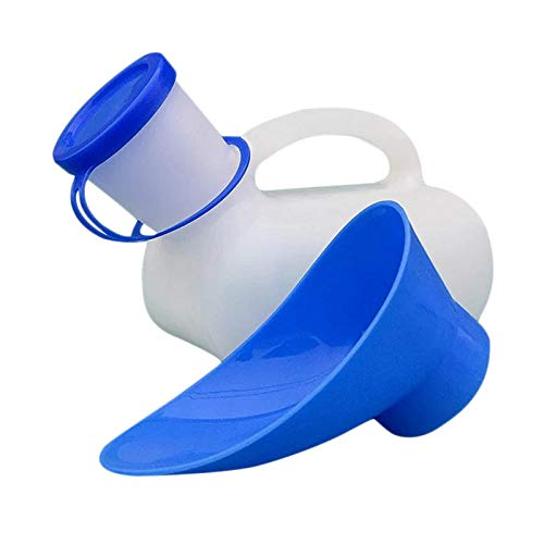 Draagbaar urinoir toilet met draaggreep, 1000 ml urinefles voor dames en heren, reizen, camping, onderweg, mobiel toilet…