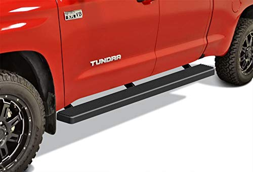 APS iBoard Running Boards 5 inches Matte Black Custom Fit 2007-2019 Toyota Tundra Double Cab Pickup 4-Door (Nerf Bars Side Steps Side Bars) ()