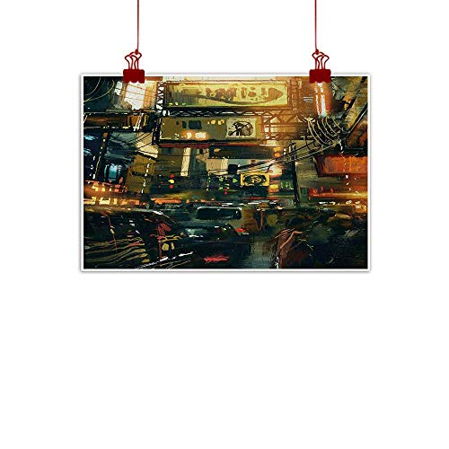 (duommhome Landscape Modern Frameless Painting Cityscape of a Metropolitan Colorful Lights in a Traffic Jam Image Photograph Painting Artwork of Living Room Bedroom Office W28 xL20 Multicolor )