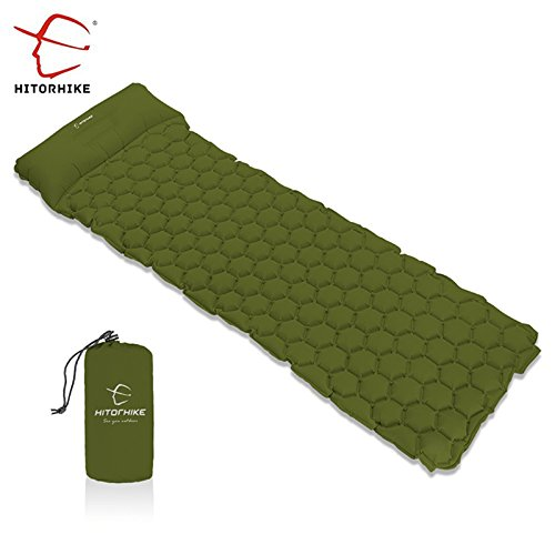 HITORHIKE Backpack Sleeping Pad   Camping Sleeping Bag Pad   Ultralight & Compact & Inflatable Air Mattress Pad-Insulated Air Mat   For Camp,Backpacking,Hiking,Scouts,Travel (GREEN)