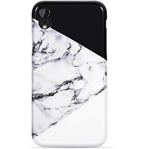VIVIBIN iPhone XR Case,Cute Black and White Marble for Men Women Girls Clear Bumper Slim Fit Glossy TPU Soft Silicone Rubber Best Protective Cover Thin Phone Case for New iPhone XR [6.1 inch]