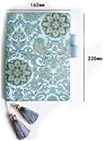 Postcards Pocket,Pen Holder, for Daily Planner Dairy Agenda Schedule Bullet Journal Book A6 Filler Paper Splash Ink Blue PU Leather Cover Refillable Notebook with Multi