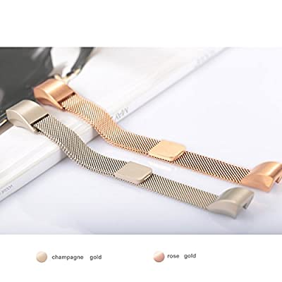 """For Fitbit Alta HR and Alta Bands, bayite Replacement Milanese Loop Stainless Steel Metal Bands Pack of 2 Large 6.7""""-8.1"""" Champagne Gold and Rose Gold"""
