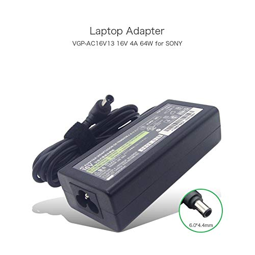 Genuine 16V 4A 64W Power 6.04.4mm Supply Compatible with Sony VGP-AC16V13 GP-AC16V14 VGP-AC16V4 VGP-AC16V6 Tablet Laptop Charger Adapter