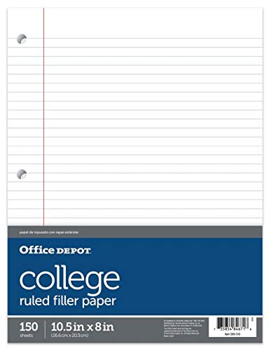 (Office Depot Notebook Filler Paper, College-Ruled, 8in. x 10 1/2in, 3-Hole Punched, White, Pack Of 150, 09251OD)