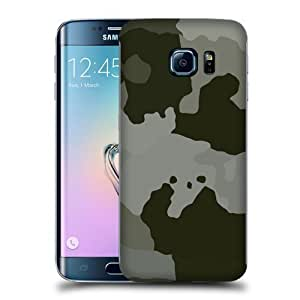 Case Fun Large Grey Camouflage Snap-on Hard Back Case Cover for Samsung Galaxy S6 Edge