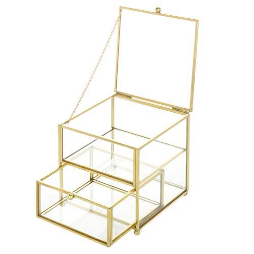 (MyGift 2-Compartment Antique Brass & Glass Jewelry Box Organizer)