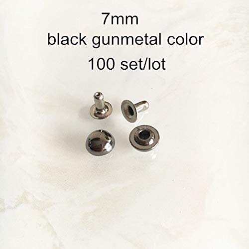 (Garment Rivet - 7mm Mushroom Rivet Studs,Zinc Alloy Dome Spike Stud Rivets for Leather Crafts,Gold,Silver,Bronze,Black Gunmetal -100 Set - (Color: 7mm Black Gunmetal))