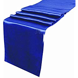 mds Pack of 10 Wedding 12 x 108 inch Satin Table Runner for Wedding Banquet Decoration- Royal Blue