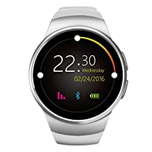 Flormoon Smartwatch 1.3 inch MTK2502C GSM IOS Android Smart Watch Phone with Camera(Silver+White)