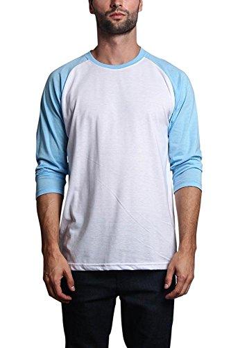 Victorious Men's Baseball T-Shirt TS900 - White/Sky Blue - X-Large