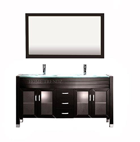 Double Vanity Tops - Amriel 59 in. Double Vanity in Espresso with Glass Vanity Top in Aqua and Mirror