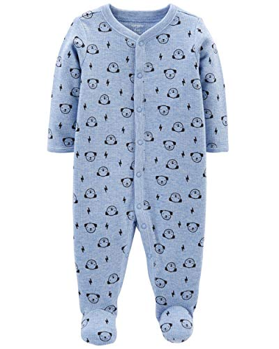 Carter's Baby Boys Cotton Footed Sleep N Play (3 Months, Blue Puppy Print)