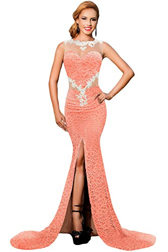 Neue Damen Orange & Nude Floral Spitze Langes Abendkleid Ball Cocktail Cruise Party Kleid Größe M UK 12 EU 40