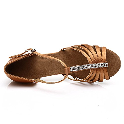 Latino Salón Baile Zapatos 227 7cm Marrón De Hroyl Mujer Satin Wq1ZwI