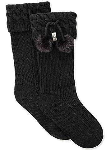UGG Women's Pom Tall Rainboot Sock, Black, O/S - Faux Ugg Boots