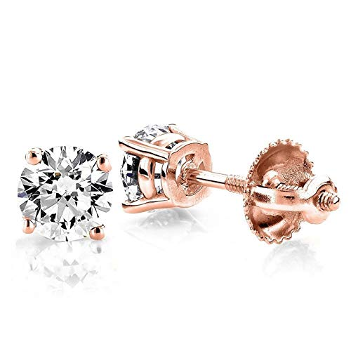 0.5 ct Brilliant Round Cut Solitaire White Lab Created VVS1 Ideal Sapphire Anniversary gift Stud Earrings Real Solid 14k Rose Gold Screw Back, ClaraPucci from Clara Pucci
