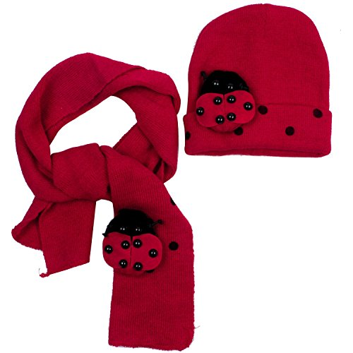 Free Crochet Pattern Toddler Hat - Dealzip Inc Cute Unisex Kids Baby Toddler Red Ladybuy Pattern Style Woven Knit Crochet Warm Winter Fluffy Beanie Hat Cap and Scarf Set