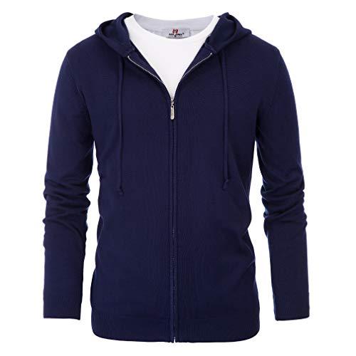PJ PAUL JONES Men's Zipper Hooded Sweatshirt Autumn Winter Warmth Long Sleeve Tops (M,Navy) ()