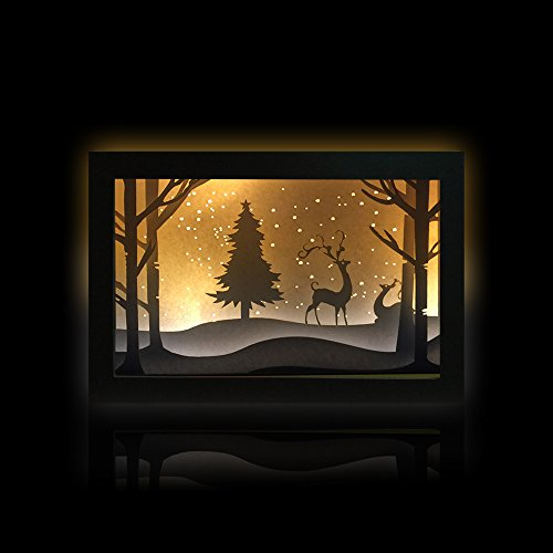 PARTYMASTER Christmas Elk Papercut Light Boxes Paper Lantern, 3D Shadow Box Led Light Night lamp, Decorative Mood Light for Kids and Adults, Baby Nursery Kids Bedroom Living Room Night Light