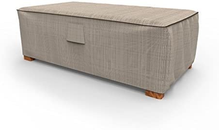 Budge P5A35PM1 English Garden Patio Ottoman Coffee Table Cover Heavy Duty and Waterproof, Medium, Two-Tone Tan