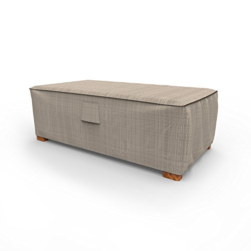 Budge P5A35PM1 English Garden Patio Ottoman/Coffee Table Cover Heavy Duty and Waterproof, Medium, Two-Tone Tan