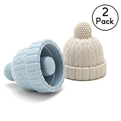 Beanie Cap Silicone Bottle Stopper, Set of Two, Novelty Cork Replacement, Beverage and wine Keeper, by Monkey Business (Blue/Gray; Red/Gray; See Color Options)
