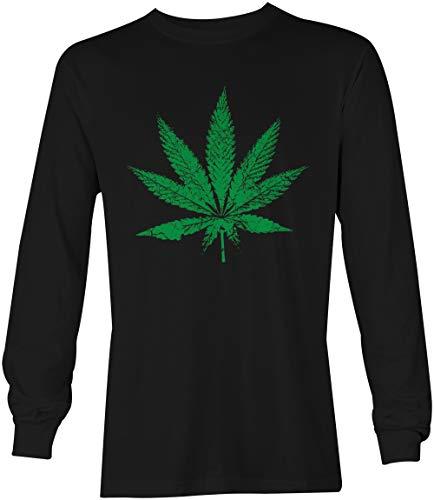 Marijuana Leaf - Pothead Stoner 420 Unisex Long Sleeve Shirt (Black, Large)