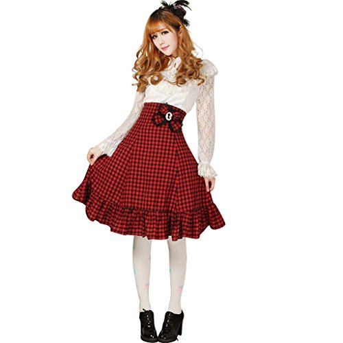Hugme Red and Black Plaid Polyester Lace High-Waisted Lolita Skirt (Long Sleeve Plus Size Costume)